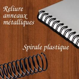 Dossier, livre avec reliure spirale plastique ou métallique